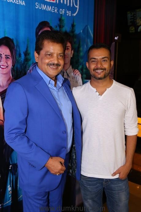 (L-R) Udit Narayan and Vaibhav Bundhoo at TVF's 'Yeh Meri Family' prem...