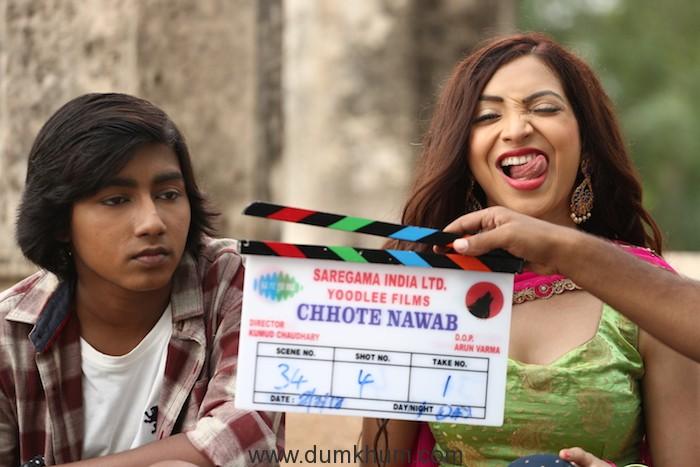 Movie stll of Chhote Nawab Plabita Borthakur on the left
