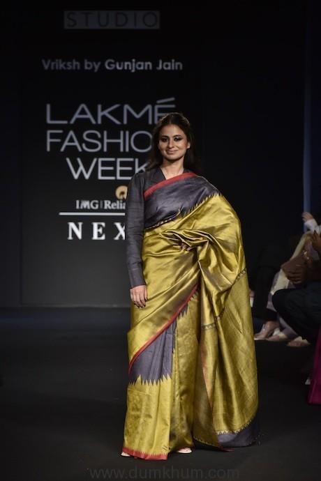 Gunjan Jain showcases the Vriksh Winter Festive Collection  'Yogini' at Lakme Fashion Week 2018