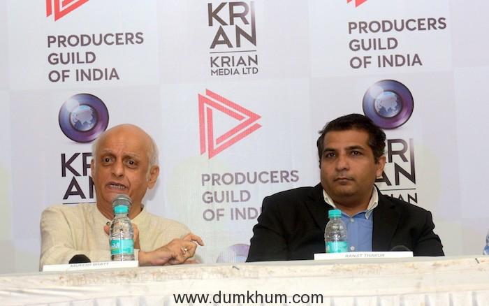 Ranjit Thakur (Founder & President of Krian Media) with Mukesh Bhatt (Vishesh Films) addressing the conference