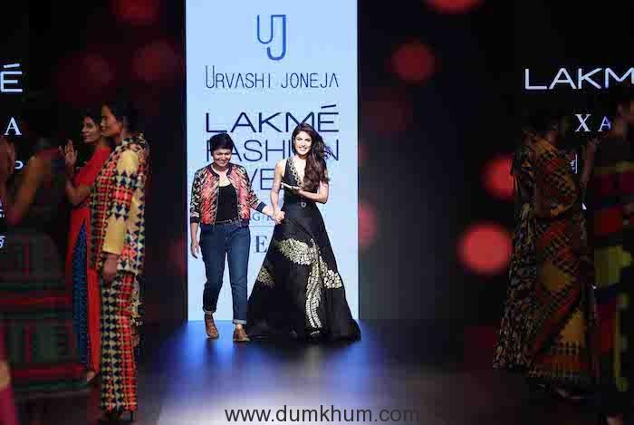 Rhea Chakraborty walked for designer Urvashi Joneja on Day 1 of Lakmé Fashion Week