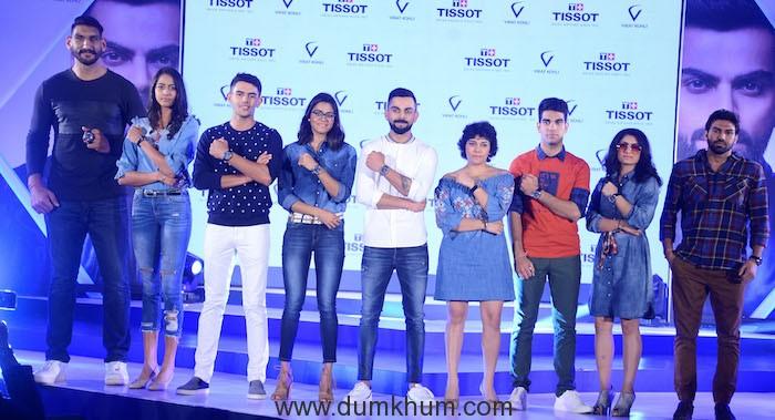 Virat Kohli Brand Ambassador Tissot India with Satnam Singh, Karman Kaur Thandi, Aadil Bedi, Shivani Kataria, Sachika Kumar Ingale, Jehan Daruwala, Pinky Rani, Manoj Kumar