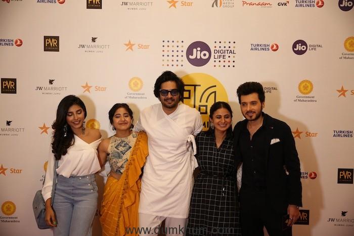 Cast of Mirzapur-(L-R)Harshita Gaur,Shweta Tripathi,Ali Fazal,Rasika Dugal,Divyendu Sharma at Jio MAMI 20th Mumbai Film Festival with Star