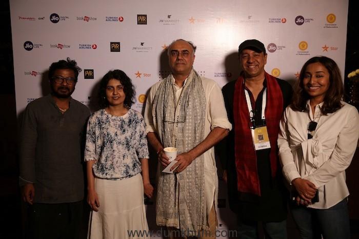 Filmmakers Onir, Vandana Kataria, Actor Rajit Kapur, Filmmaker Sridhar Rangayan and RJ Rohini Ramnathan at Jio MAMI 20th Mumbai Film Festival with Star