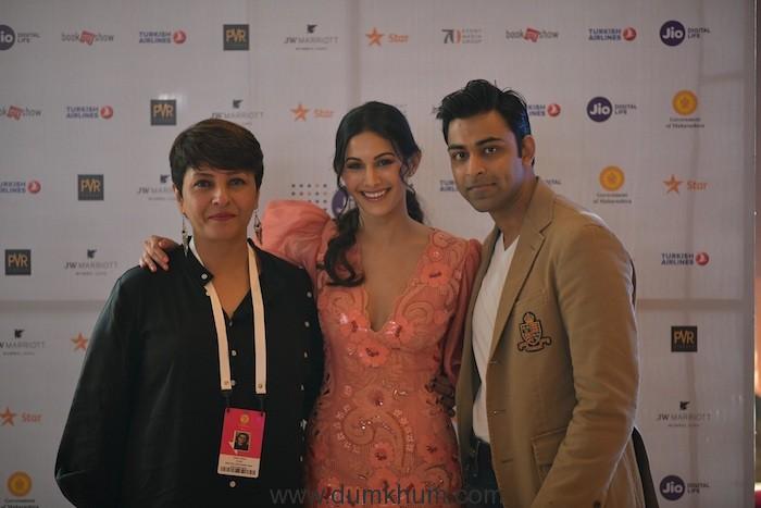 (L-R) Red carpet-Rajma Chawal-Director Leena Yadav, Actress Amyra Dastur, Actor Anirudh Tanwar