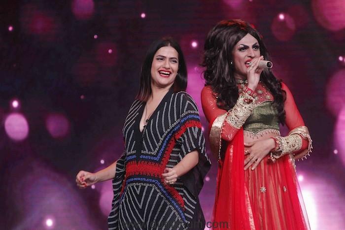 Sa Re Ga Ma Pa-Judge Sona Mohapatra with contestsant Sushant Divgikar in his drag queen avataar
