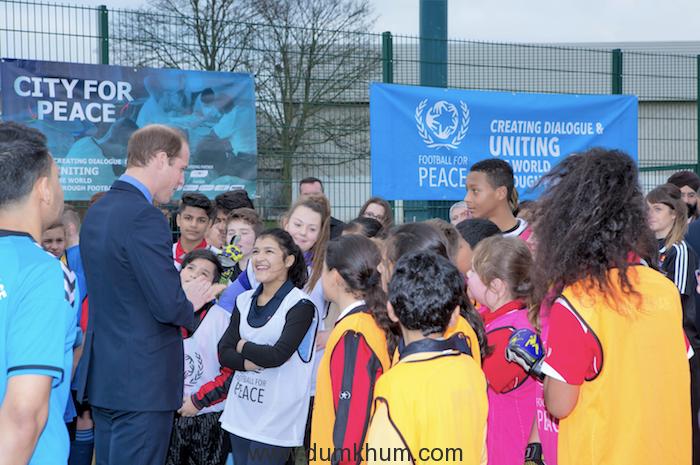 FfP_Birmingham_CityforPeace_HRH_DukeofCambridge_visit_07Dec2015 (Duke of Cambridge addresses young participants from across Birmingham schools taking part in the Peace tournament