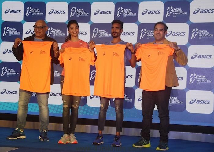 (L-R) Anil Singh-MD Procam International, Pooja Hegde - Actor, Gopi T - Athlete, Gautam Raheja - Marketing Head, ASICS