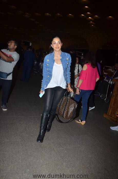 Super stylish Kiara Advani in this Cool outfit at the airport today, as she heads for Grand Ambani wedding to Udaipur-