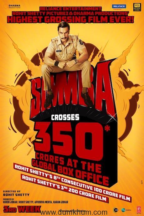 SIMMBA crosses 350 crores at Global Box Office