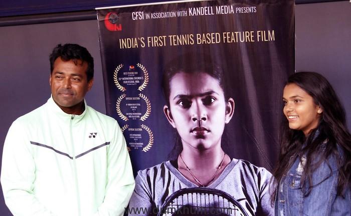 Tennis legend Leander Paes with Dakshata Patel at promo launch of Tennis Buddies.