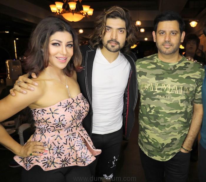 Debina Bonnerjee with Gurmeet Choudhary and Ajay Kapoor during Debina Bonnerjee's Birthday celebrations at SIN CITY