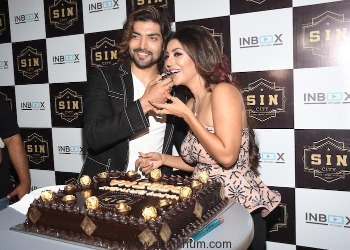Gurmeet Choudhary & Debina Bonnerjee during Debina Bonnerjee's Birthday celebrations at SIN CITY