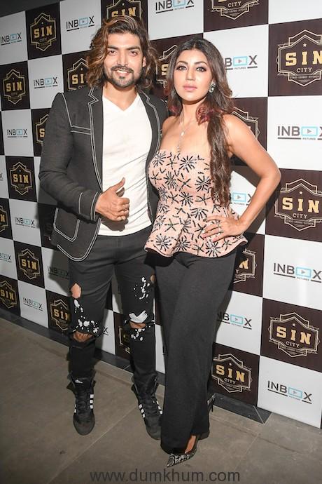 Gurmeet Choudhary wioth Debina Bonnerjee during Debina Bonnerjee's Birthday celebrations at SIN CITY