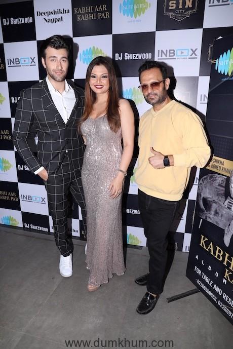 Rohed Khan, Deepshikha Nagpal and DJ Sheizwood during the song launch KABHI AAR KABHI PAR AMP_0190