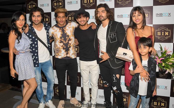 Teejay Sidhu, Harshad Chopda, Karanveer Bohra, Arjun Bijlani, Gurmeet Choudhary during Debina Bonnerjee's Birthday celebrations at SIN CITY