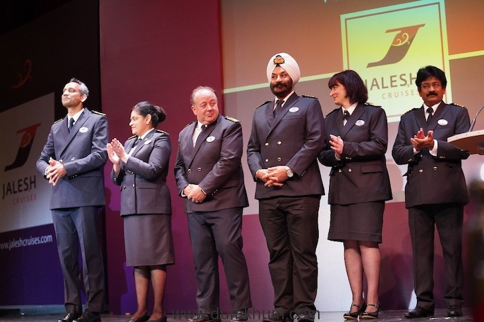 The crew at the naming ceremony of Karnika, India's first premium cruise ship from Jalesh cruises.