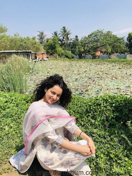 Kangana Ranaut's daisy-like look near the lotus pond at Isha Yoga Centre in Coimbatore