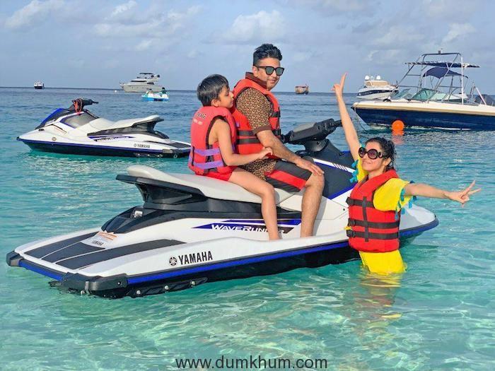 Producer Bhushan Kumar with Wife Divya Khosla Kumar and son enjoys family vacay in Maldives