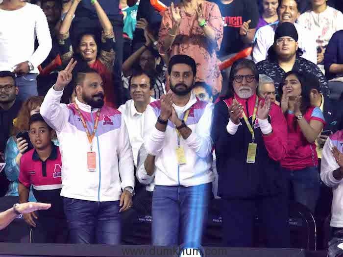 Shahenshah Amitabh Bachchan joined Abhishek Bachchan, as they cheered for their team Jaipur Pink Panthers against Haryana Steelers at VIVO Pro Kabaddi League Season 7 at NSCI, Mumbai 2