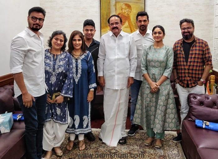 Bhushan Kumar, Nikkhil Advani, John Abraham and team Batla House gets best wishes from VP of India-