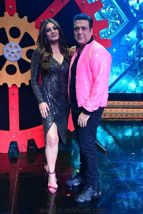 Govinda along with Raveena Tandon on the sets of Nach Baliye 9