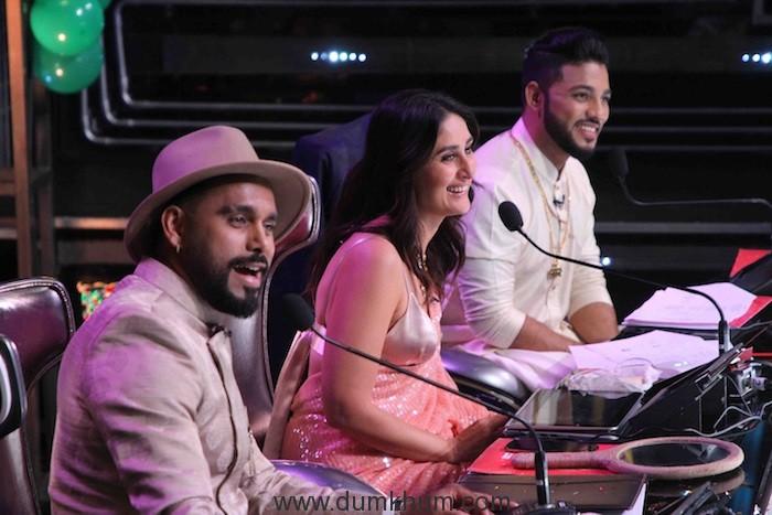 Judges Bosco Martis, Kareena Kapoor Khan and Raftaar on the sets of DID (2).JPG
