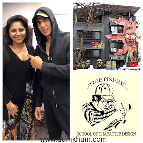 Preetisheel Singh with Akshay Kumar, Mural of Preetisheel's new office in Versova, school logo.