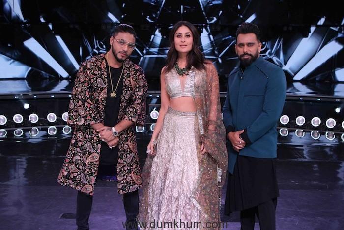 Judges Raftaar,Kareena Kapoor Khan and Bosco Martis on the sets of DID(2)