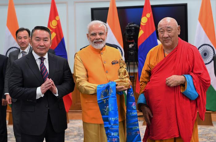 Mongolia President Khailtamaniga Batulga and Prime Minister Narendra Modi inaugurated the Buddha statue