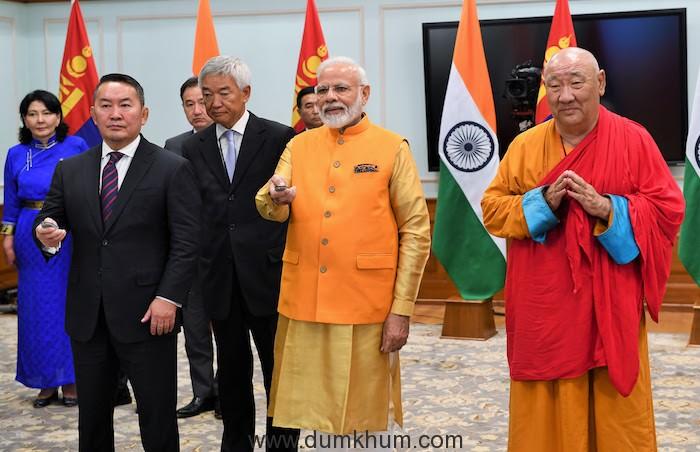 PM Narendra Modi & Mongolian PM inaugurated the Buddha statue unveiled the Buddha statue