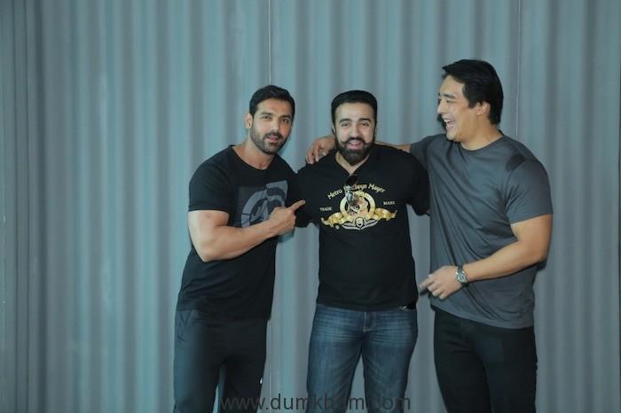 _Rinzing Denzonpa, Malvika Raaj, Tanisha Dhillon and director Nilesh Sahay meet John Abraham before they leave for shooting Squad. 4
