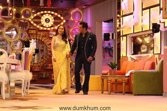 Salman Khan and Madhuri Dixit inside the Bigg Boss house (1)