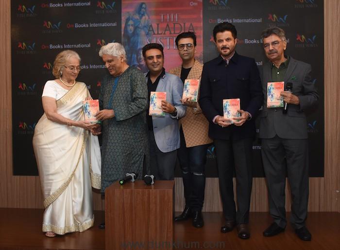 Asha Parekh, Javed Akhtar, Publisher Ajay Mago, Karan Johar, Anil Kapoor & Khalid Mohamed at the launch of Khalid Mohamed's debut novel 'The Aladia Sisters', an Om Books International publication