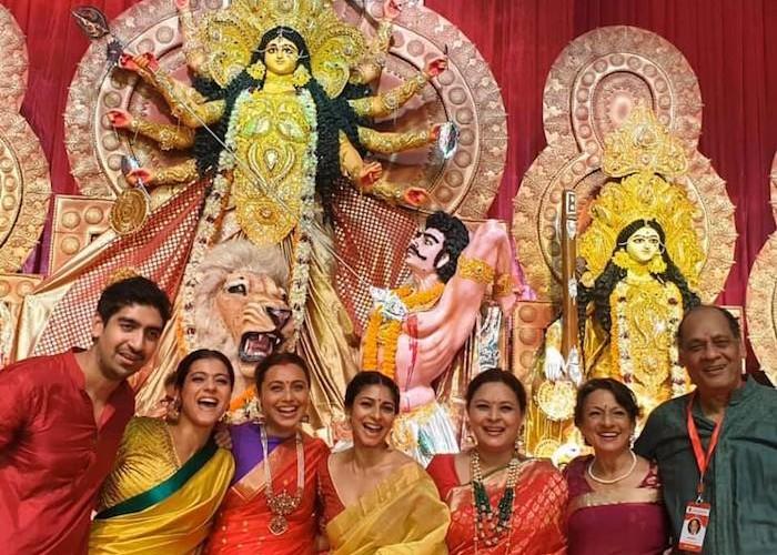 Kajol shares images of her celebrating Durga Ashtami with Rani Mukerji, Tanisha Mukherjee and Ayan Mukherjee