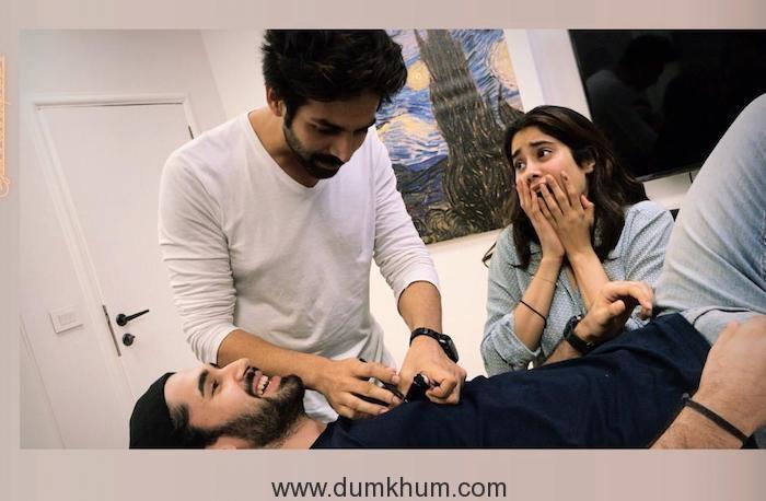 Kartik Aryan, Janhvi, Lakshya having fun while prepping for Dostana 2