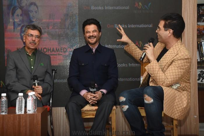 Khalid Mohamed, Anil Kapoor & Karan Johar at the launch of Khalid Mohamed's debut novel 'The Aladia Sisters', an Om Books International publication
