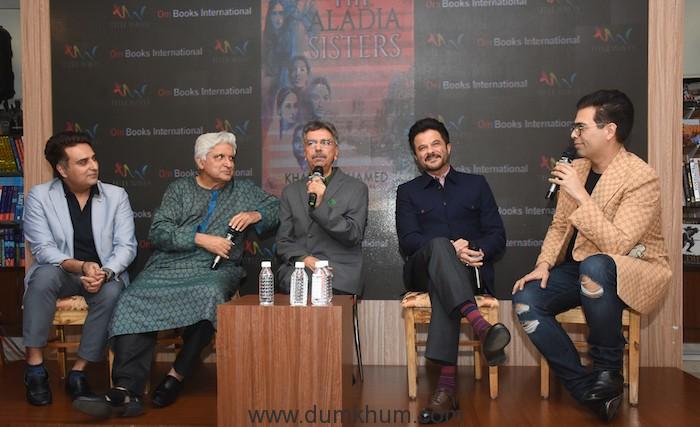Publisher Ajay Mago, Javed Akhtar, Khalid Mohamed, Anil Kapoor & Karan Johar at the launch of Khalid Mohamed's debut novel 'The Aladia Sisters', an Om Books International publication