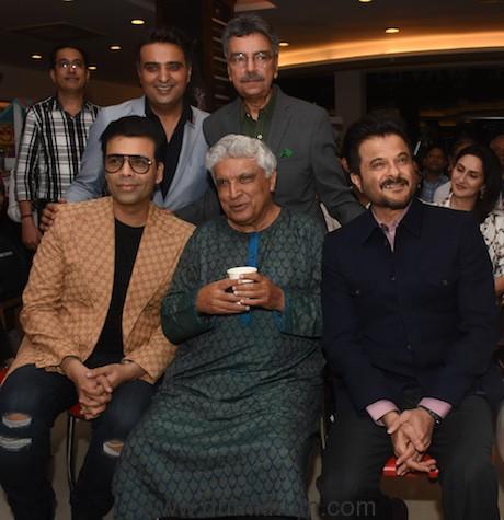 Publisher Ajay Mago, Khalid Mohamed, Karan Johar, Javed Akhtar & Anil Kapoor at the launch of Khalid Mohamed's debut novel 'The Aladia Sisters', an Om Books International publication