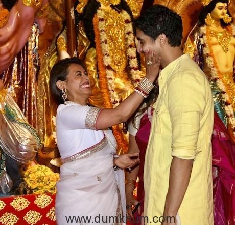 Rani Mukherjee & Ayan Mukherjee at the Durga Puja Pandal today-1