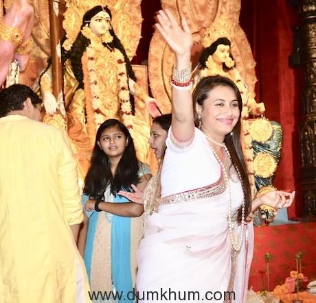 Rani Mukherjee & Ayan Mukherjee at the Durga Puja Pandal today-