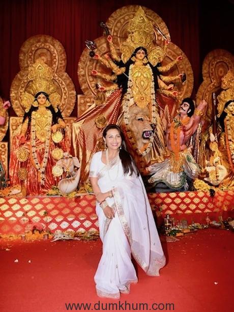Rani Mukherjee at the Durga Puja Pandal today-