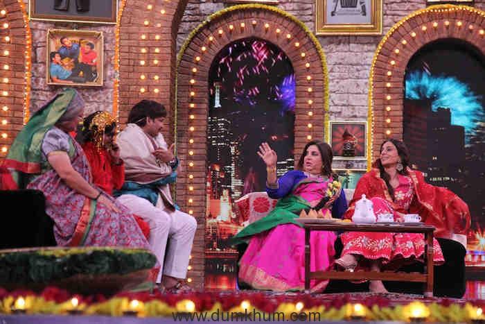 Tabu and Farah on sets of Movie Masti with Maniesh Paul (2)
