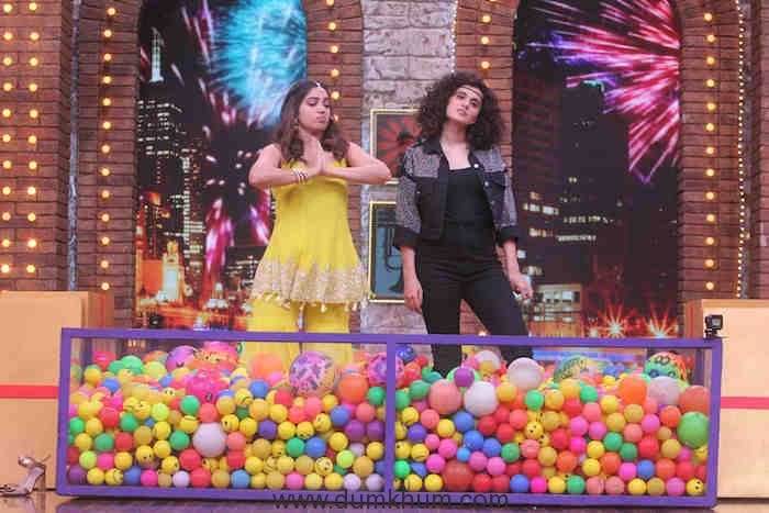 Tapsee and Bhumi on sets of Movie Masti with Maniesh Paul (1)