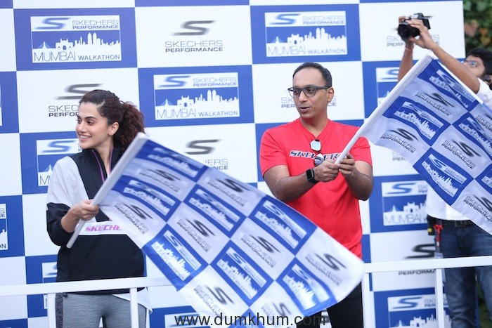 Bollywood Actor Taapsee Pannu and Rahul Vira, Skechers South Asia,CEO India at Skechers Walkathon 1