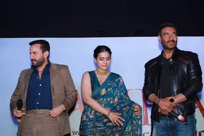 Kajol with Ajay Devgn & Saif Ali Khan at the Tanhaji- The Unsung Warrior trailer launch