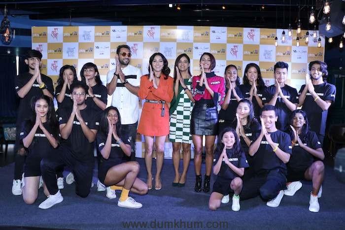 Punit J Pathak, Neeti Mohan, Mukti Mohan, and Shakti Mohan with the dance troupe at the launch of Break A Leg Season 2