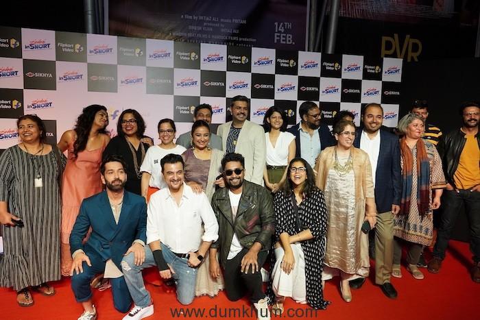 Producer Guneet Monga, Prakash Sikaria, Vice President, Growth and Monetization, Flipkart along with the cast and crew at the premiere of Zindagi inShort