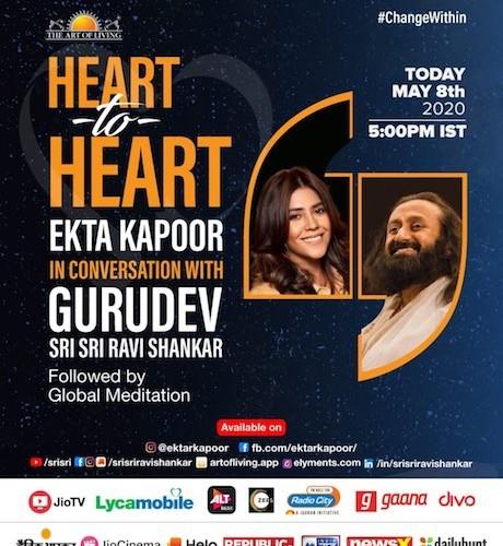 Ekta Kapoor is all set to invoke peace within and have a 'Heart to Heart' with Sri Sri Ravishankar