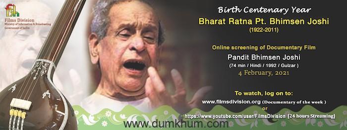 Films Division is screening a biopic on the legendary vocalist Bharat Ratna Pt. Bhimsen Joshi